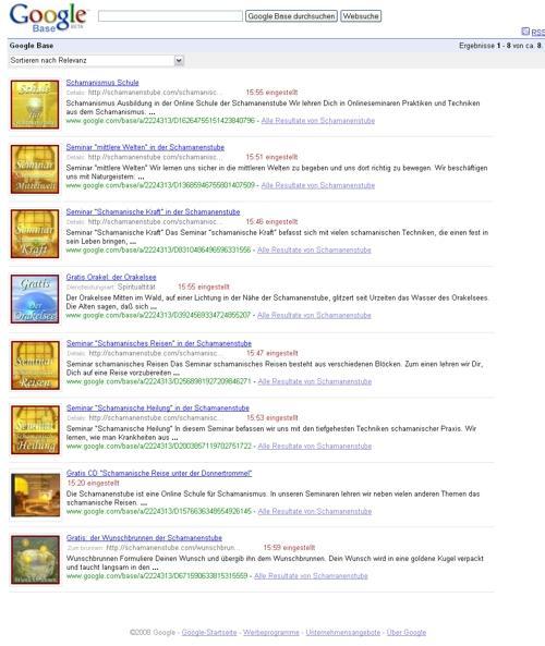 Unsere Produkte bei Google Base