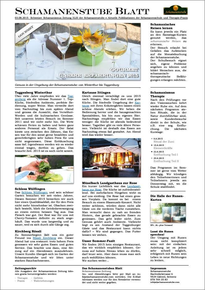 Schamanismus Zeitung: Restaurant Kritiken